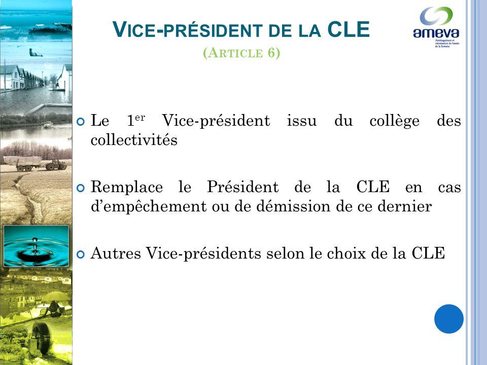 Le 1 er Vice-président issu du collège des collectivités Remplace le Président de la CLE en cas dempêchement ou de démission de ce dernier Autres Vice-présidents selon le choix de la CLE V ICE - PRÉSIDENT DE LA CLE (A RTICLE 6)