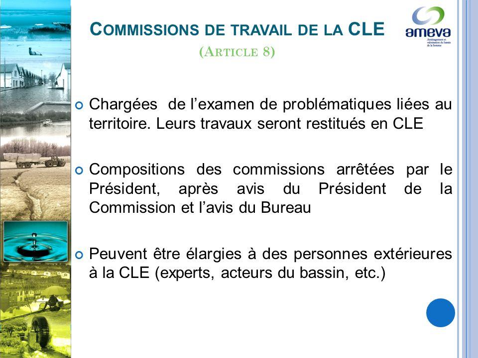 C OMMISSIONS DE TRAVAIL DE LA CLE Chargées de lexamen de problématiques liées au territoire.