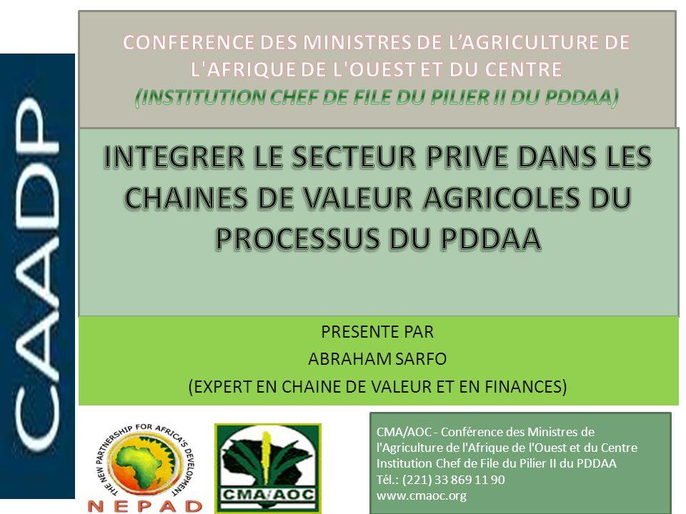 La chaîne de valeur agricole dans le processus du PDDAA Lavantage supplémentaire crucial de lapproche de la chaîne de valeur en référence au Pilier II du PDDAA Infrastructures rurales et accès au marché est que lobjectif dun investissement dans un segment quelconque de la chaîne de valeur est identifié avant que linvestissement ne soit réalisé et est lié à lobjectif général du PDDAA consistant en une croissance des économies africaines de 6 %.