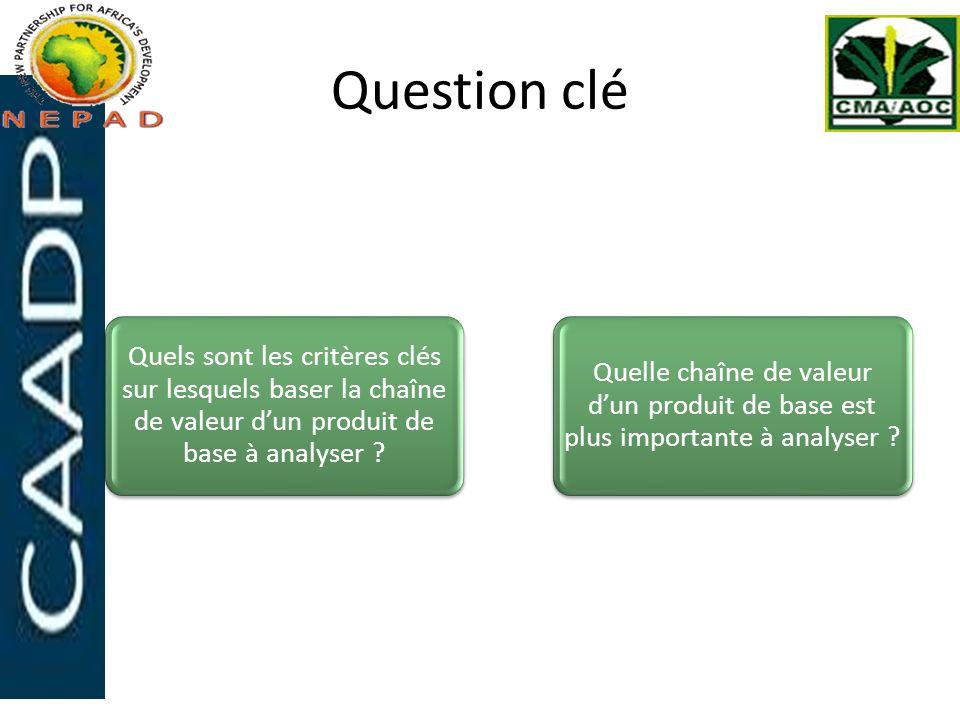 Question clé Quels sont les critères clés sur lesquels baser la chaîne de valeur dun produit de base à analyser ? Quelle chaîne de valeur dun produit