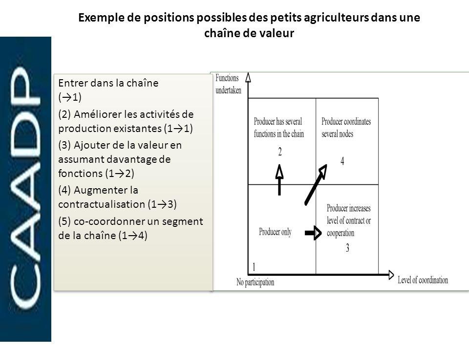 Exemple de positions possibles des petits agriculteurs dans une chaîne de valeur Entrer dans la chaîne (1) (2) Améliorer les activités de production e