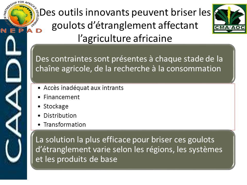 Des outils innovants peuvent briser les goulots détranglement affectant lagriculture africaine Des contraintes sont présentes à chaque stade de la cha