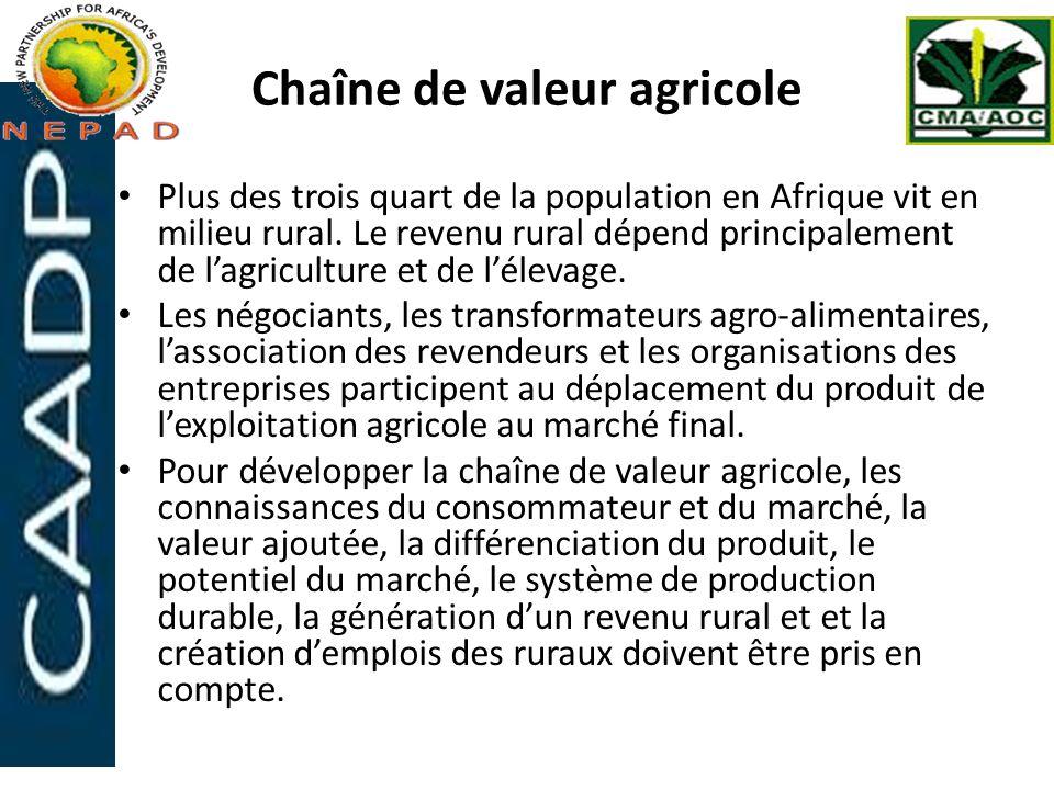 Chaîne de valeur agricole Plus des trois quart de la population en Afrique vit en milieu rural. Le revenu rural dépend principalement de lagriculture