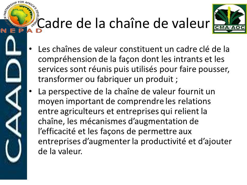 Cadre de la chaîne de valeur Les chaînes de valeur constituent un cadre clé de la compréhension de la façon dont les intrants et les services sont réu