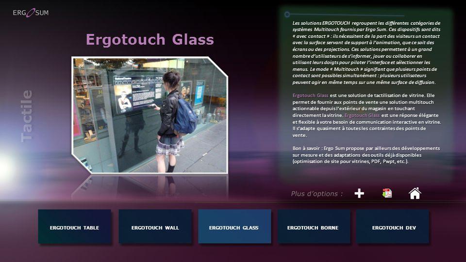Ergotouch Glass Les solutions ERGOTOUCH regroupent les différentes catégories de systèmes Multitouch fournis par Ergo Sum. Ces dispositifs sont dits «