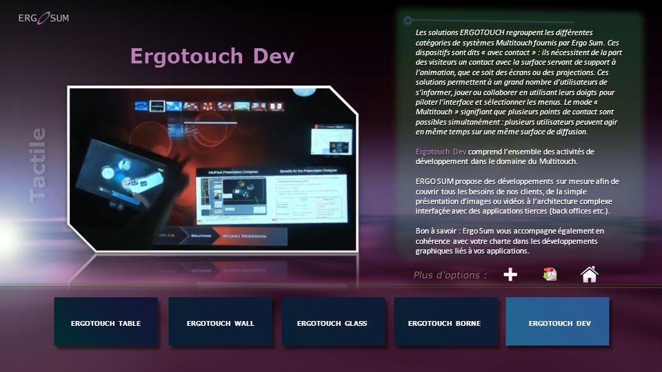 Ergotouch Dev Les solutions ERGOTOUCH regroupent les différentes catégories de systèmes Multitouch fournis par Ergo Sum. Ces dispositifs sont dits « a