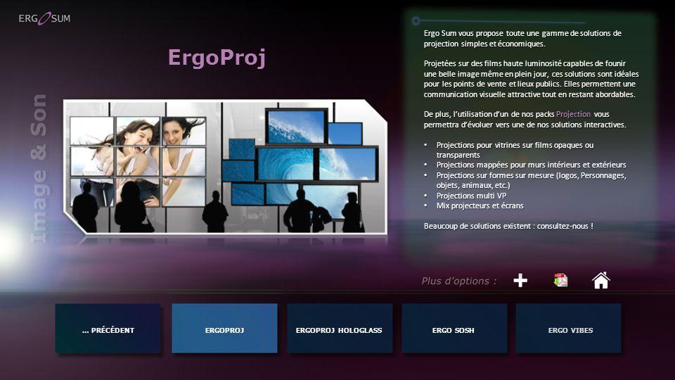 … PRÉCÉDENTERGOPROJERGO SOSHERGO VIBESERGOPROJ HOLOGLASS Image & Son ErgoProj Ergo Sum vous propose toute une gamme de solutions de projection simples et économiques.