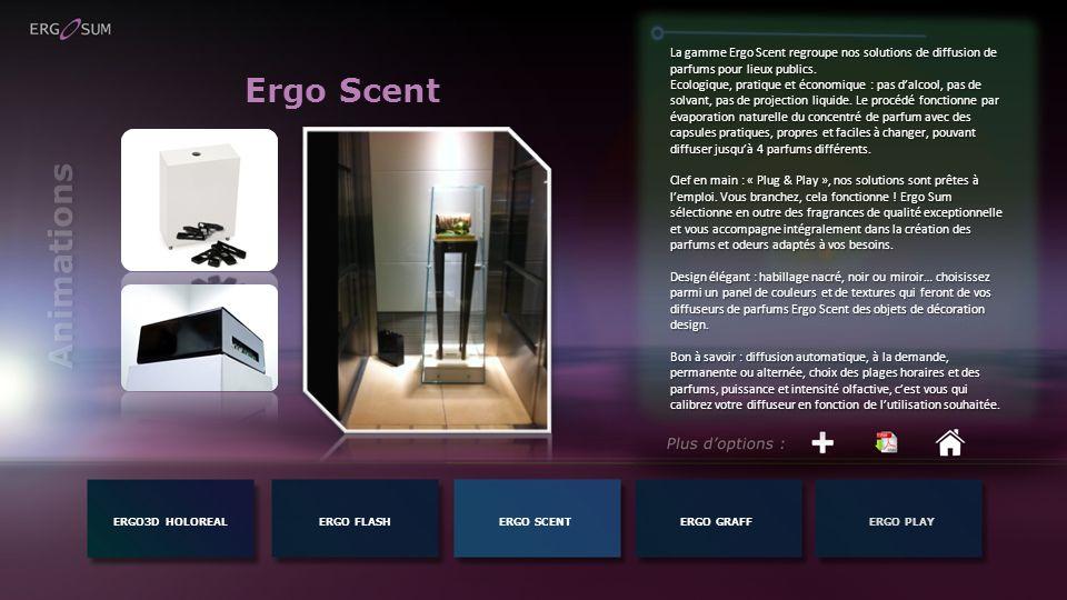 Ergo Scent ERGO3D HOLOREALERGO FLASH La gamme Ergo Scent regroupe nos solutions de diffusion de parfums pour lieux publics. Ecologique, pratique et éc