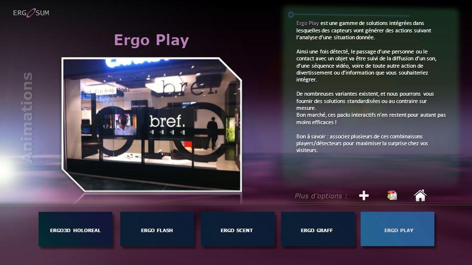 Ergo Play ERGO3D HOLOREALERGO FLASH Ergo Play est une gamme de solutions intégrées dans lesquelles des capteurs vont générer des actions suivant lanalyse dune situation donnée.