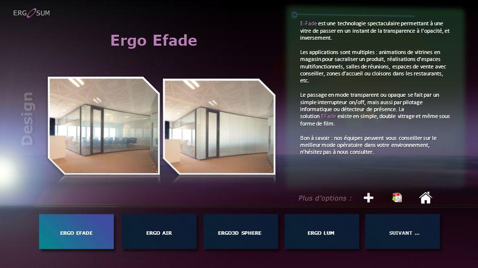 Ergo Efade ERGO EFADEERGO AIR E-Fade est une technologie spectaculaire permettant à une vitre de passer en un instant de la transparence à lopacité, et inversement.