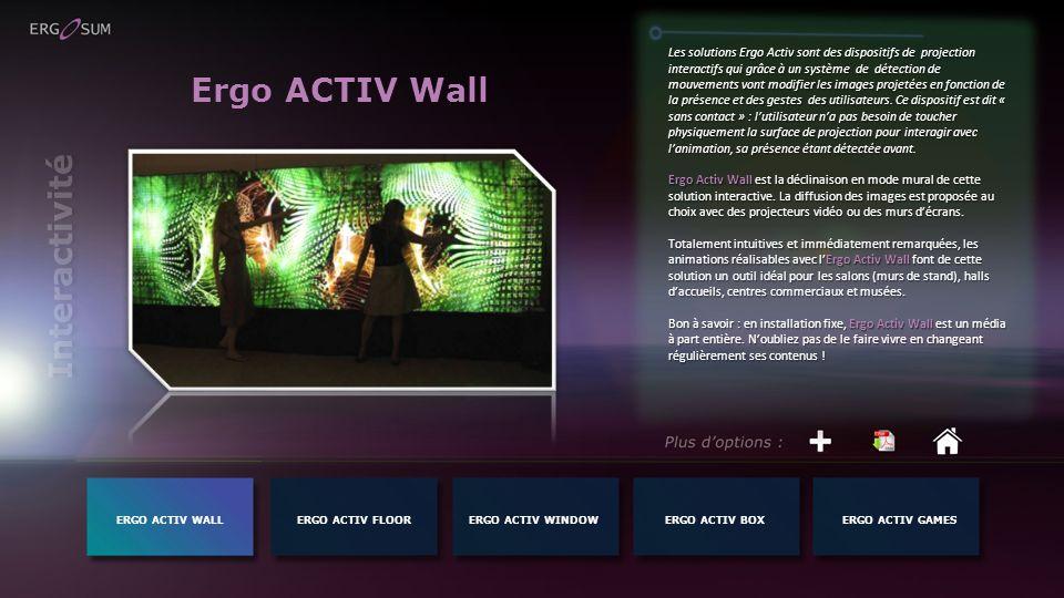 Ergo ACTIV Wall Les solutions Ergo Activ sont des dispositifs de projection interactifs qui grâce à un système de détection de mouvements vont modifie