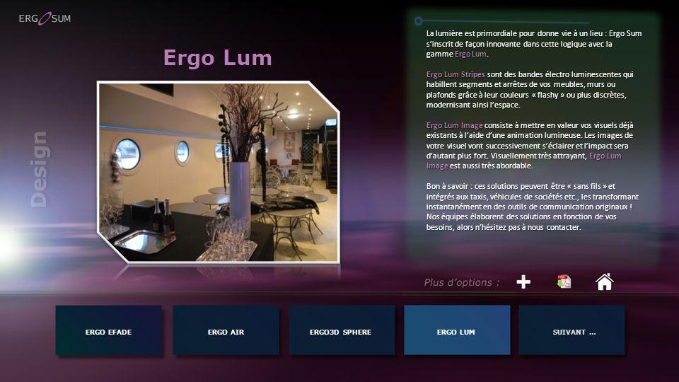 Ergo Lum ERGO EFADEERGO AIR La lumière est primordiale pour donne vie à un lieu : Ergo Sum sinscrit de façon innovante dans cette logique avec la gamm