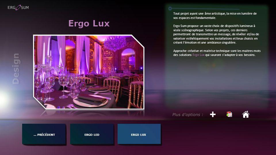 Ergo Lux … PRÉCÉDENTERGO LED Tout projet ayant une âme artistique, la mise en lumière de vos espaces est fondamentale. Ergo Sum propose un vaste choix