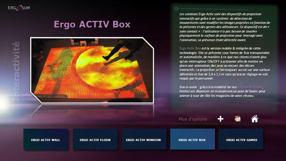 Ergo ACTIV Box Les solutions Ergo Activ sont des dispositifs de projection interactifs qui grâce à un système de détection de mouvements vont modifier les images projetées en fonction de la présence et des gestes des utilisateurs.
