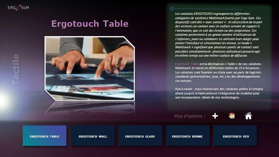 Ergotouch Table Les solutions ERGOTOUCH regroupent les différentes catégories de systèmes Multitouch fournis par Ergo Sum. Ces dispositifs sont dits «