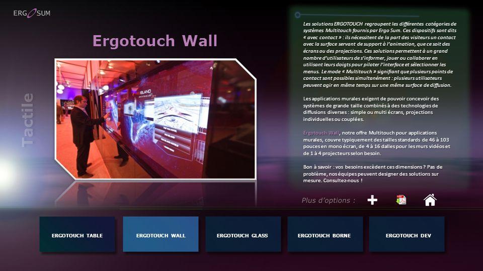 Ergotouch Wall Les solutions ERGOTOUCH regroupent les différentes catégories de systèmes Multitouch fournis par Ergo Sum. Ces dispositifs sont dits «
