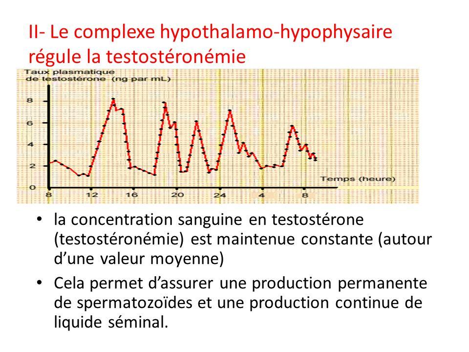 II- Le complexe hypothalamo-hypophysaire régule la testostéronémie Système réglé: le milieu intérieur la concentration sanguine en testostérone (testo