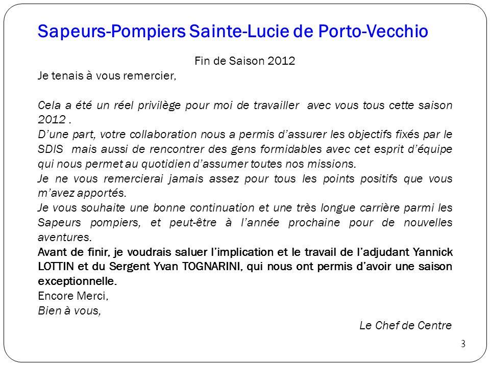 Sapeurs-Pompiers Sainte-Lucie de Porto-Vecchio Fin de Saison 2012 Je tenais à vous remercier, Cela a été un réel privilège pour moi de travailler avec