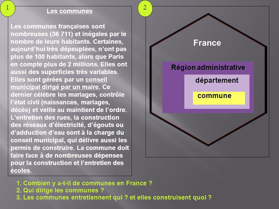 1. Combien y a-t-il de communes en France ? 2. Qui dirige les communes ? 3. Les communes entretiennent qui ? et elles construisent quoi ? 2 Les commun