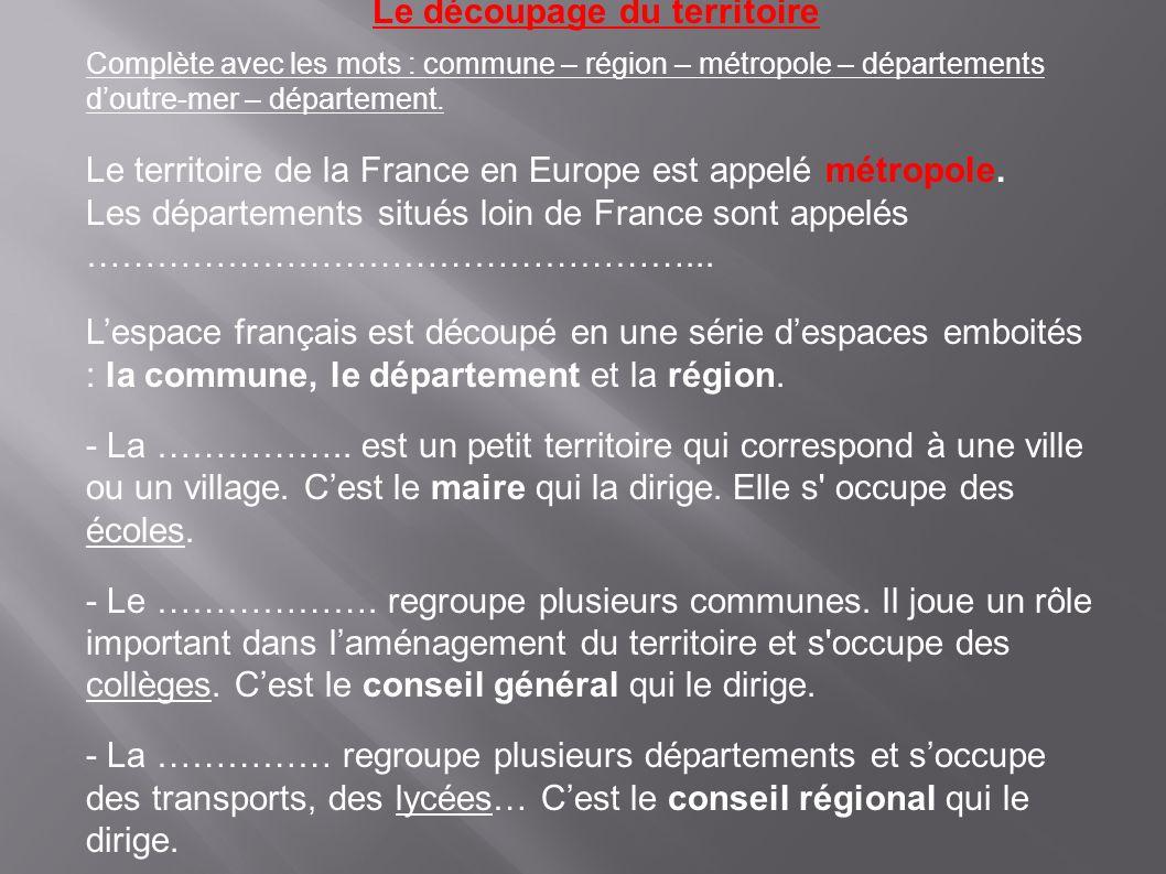 Le découpage du territoire Complète avec les mots : commune – région – métropole – départements doutre-mer – département.