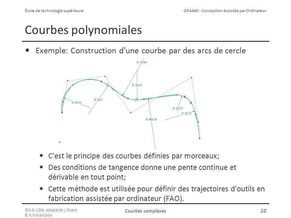 GPA445 - Conception Assistée par Ordinateur École de technologie supérieure Exemple: Construction d une courbe par des arcs de cercle C est le principe des courbes définies par morceaux; Des conditions de tangence donne une pente continue et dérivable en tout point; Cette méthode est utilisée pour définir des trajectoires d outils en fabrication assistée par ordinateur (FAO).