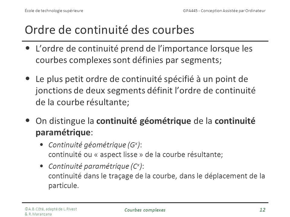 GPA445 - Conception Assistée par Ordinateur École de technologie supérieure Ordre de continuité des courbes Lordre de continuité prend de limportance lorsque les courbes complexes sont définies par segments; Le plus petit ordre de continuité spécifié à un point de jonctions de deux segments définit lordre de continuité de la courbe résultante; On distingue la continuité géométrique de la continuité paramétrique: Continuité géométrique (G x ): continuité ou « aspect lisse » de la courbe résultante; Continuité paramétrique (C x ): continuité dans le traçage de la courbe, dans le déplacement de la particule.