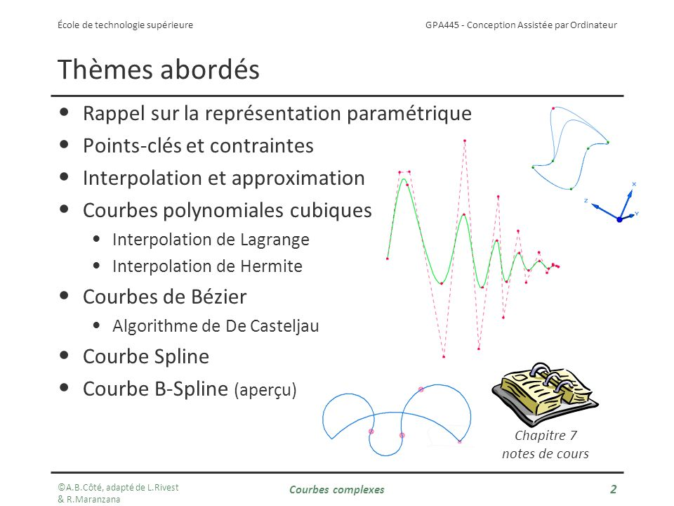 GPA445 - Conception Assistée par Ordinateur École de technologie supérieure Courbes complexes 2 Thèmes abordés Rappel sur la représentation paramétrique Points-clés et contraintes Interpolation et approximation Courbes polynomiales cubiques Interpolation de Lagrange Interpolation de Hermite Courbes de Bézier Algorithme de De Casteljau Courbe Spline Courbe B-Spline (aperçu) Chapitre 7 notes de cours ©A.B.Côté, adapté de L.Rivest & R.Maranzana