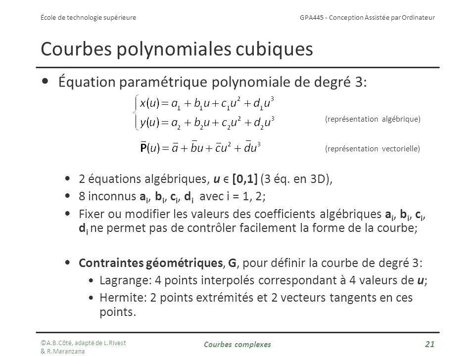 GPA445 - Conception Assistée par Ordinateur École de technologie supérieure Courbes polynomiales cubiques Équation paramétrique polynomiale de degré 3: (représentation algébrique) (représentation vectorielle) 2 équations algébriques, u ϵ [0,1] (3 éq.