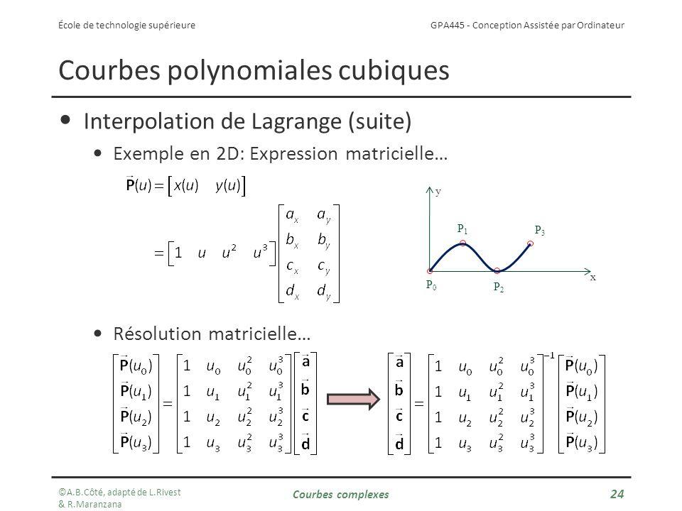GPA445 - Conception Assistée par Ordinateur École de technologie supérieure Interpolation de Lagrange (suite) Exemple en 2D: Expression matricielle… Résolution matricielle… Courbes polynomiales cubiques x y P1P1 P2P2 P3P3 P0P0 ©A.B.Côté, adapté de L.Rivest & R.Maranzana Courbes complexes 24