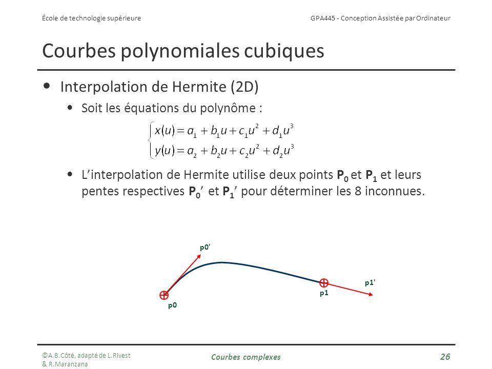 GPA445 - Conception Assistée par Ordinateur École de technologie supérieure Courbes polynomiales cubiques Interpolation de Hermite (2D) Soit les équations du polynôme : Linterpolation de Hermite utilise deux points P 0 et P 1 et leurs pentes respectives P 0 et P 1 pour déterminer les 8 inconnues.