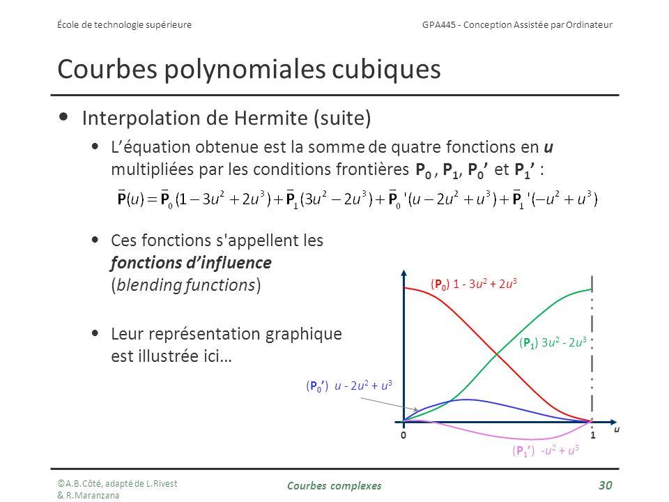GPA445 - Conception Assistée par Ordinateur École de technologie supérieure u 10 Courbes polynomiales cubiques Interpolation de Hermite (suite) Léquation obtenue est la somme de quatre fonctions en u multipliées par les conditions frontières P 0, P 1, P 0 et P 1 : Ces fonctions s appellent les fonctions dinfluence (blending functions) Leur représentation graphique est illustrée ici… (P 1 ) 3u 2 - 2u 3 (P 0 ) 1 - 3u 2 + 2u 3 (P 0) u - 2u 2 + u 3 (P 1) -u 2 + u 3 ©A.B.Côté, adapté de L.Rivest & R.Maranzana Courbes complexes 30