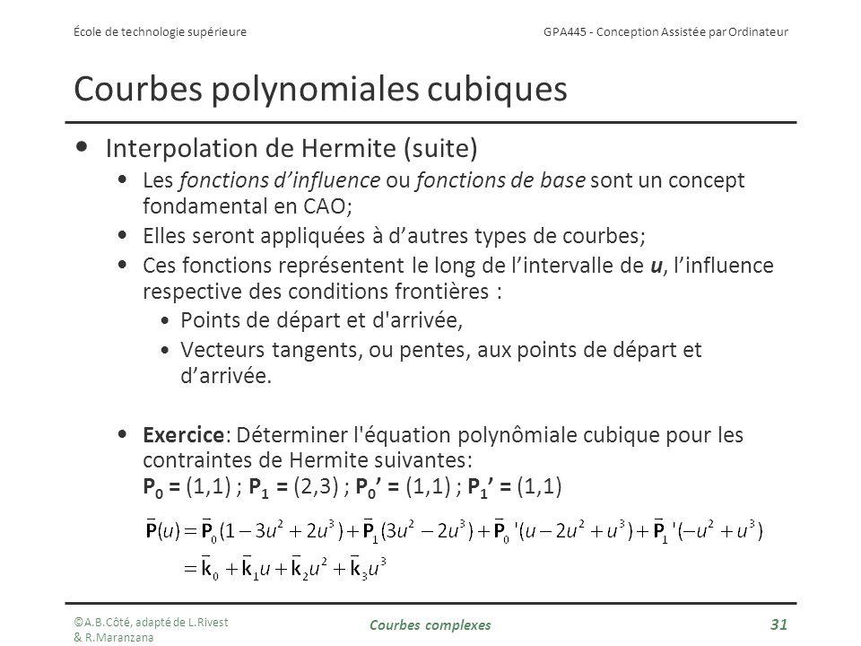 GPA445 - Conception Assistée par Ordinateur École de technologie supérieure Courbes polynomiales cubiques Interpolation de Hermite (suite) Les fonctions dinfluence ou fonctions de base sont un concept fondamental en CAO; Elles seront appliquées à dautres types de courbes; Ces fonctions représentent le long de lintervalle de u, linfluence respective des conditions frontières : Points de départ et d arrivée, Vecteurs tangents, ou pentes, aux points de départ et darrivée.