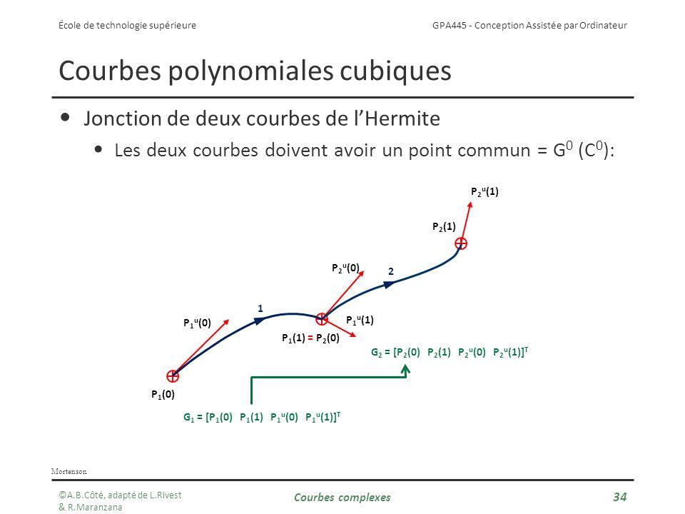GPA445 - Conception Assistée par Ordinateur École de technologie supérieure Courbes complexes 34 Courbes polynomiales cubiques Jonction de deux courbes de lHermite Les deux courbes doivent avoir un point commun = G 0 (C 0 ): Mortenson P 1 (0) P 1 (1) P 2 (1) P 1 u (0) P 1 u (1) P 2 u (0) P 2 u (1) 1 2 G 1 = [P 1 (0) P 1 (1) P 1 u (0) P 1 u (1)] T G 2 = [P 2 (0) P 2 (1) P 2 u (0) P 2 u (1)] T = P 2 (0) ©A.B.Côté, adapté de L.Rivest & R.Maranzana