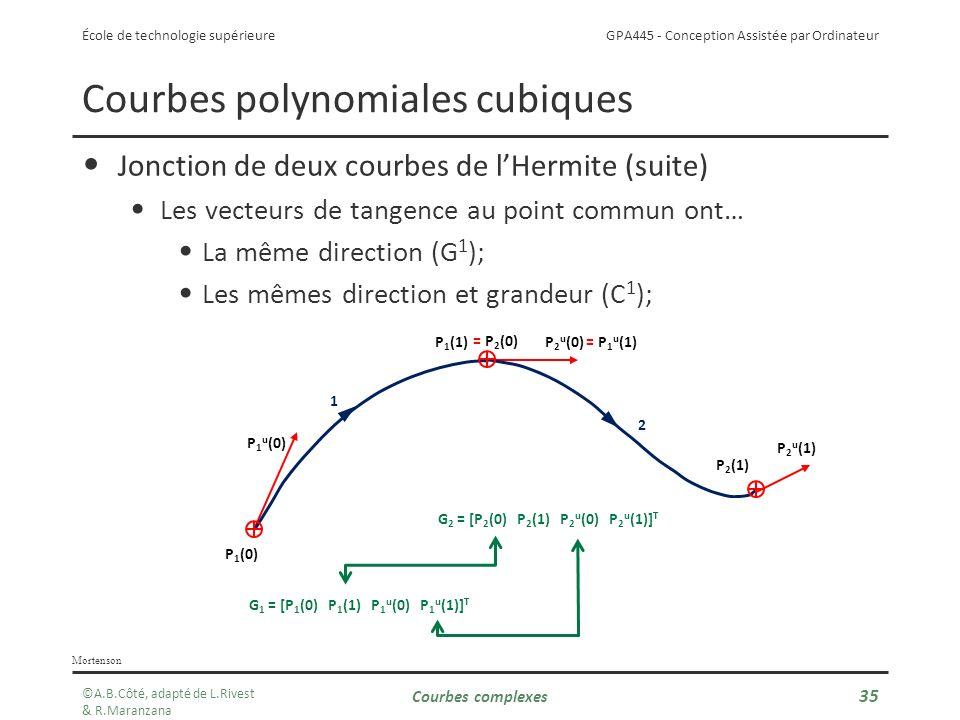 GPA445 - Conception Assistée par Ordinateur École de technologie supérieure Courbes complexes 35 Courbes polynomiales cubiques Jonction de deux courbes de lHermite (suite) Les vecteurs de tangence au point commun ont… La même direction (G 1 ); Les mêmes direction et grandeur (C 1 ); Mortenson P 1 u (0) P 2 u (0) P 2 u (1) G 1 = [P 1 (0) P 1 (1) P 1 u (0) P 1 u (1)] T G 2 = [P 2 (0) P 2 (1) P 2 u (0) P 2 u (1)] T = P 2 (0) = P 1 u (1) 1 2 P 1 (0) P 1 (1) P 2 (1) ©A.B.Côté, adapté de L.Rivest & R.Maranzana