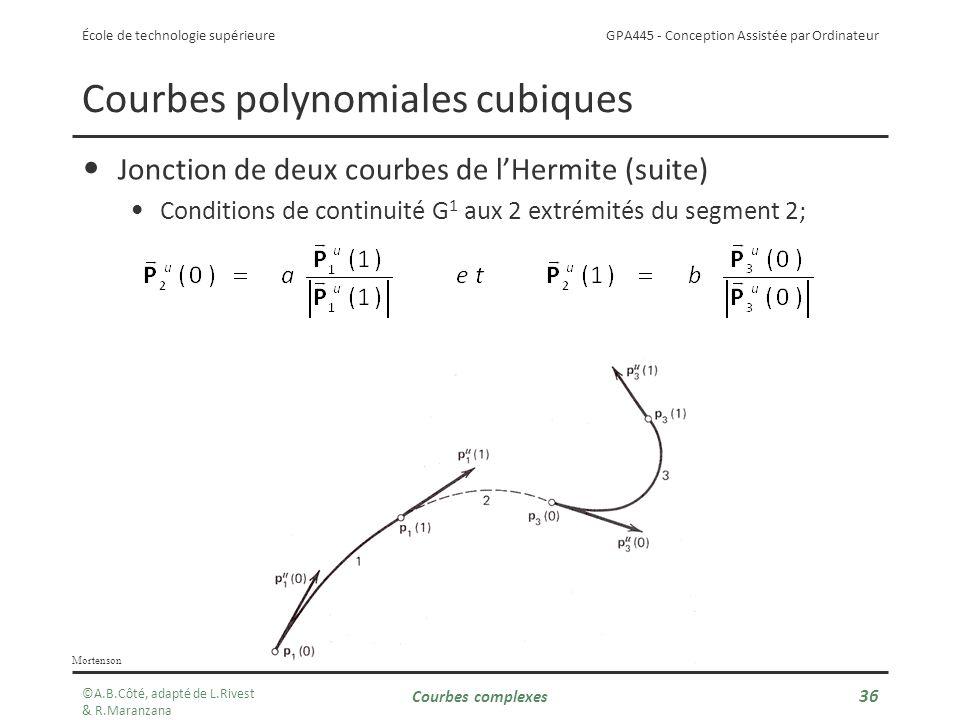 GPA445 - Conception Assistée par Ordinateur École de technologie supérieure Courbes complexes 36 Courbes polynomiales cubiques Jonction de deux courbes de lHermite (suite) Conditions de continuité G 1 aux 2 extrémités du segment 2; Mortenson ©A.B.Côté, adapté de L.Rivest & R.Maranzana