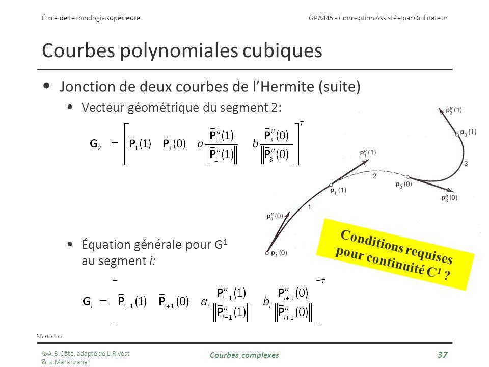 GPA445 - Conception Assistée par Ordinateur École de technologie supérieure Courbes complexes 37 Courbes polynomiales cubiques Jonction de deux courbes de lHermite (suite) Vecteur géométrique du segment 2: Équation générale pour G 1 au segment i: Mortenson Conditions requises pour continuité C 1 .