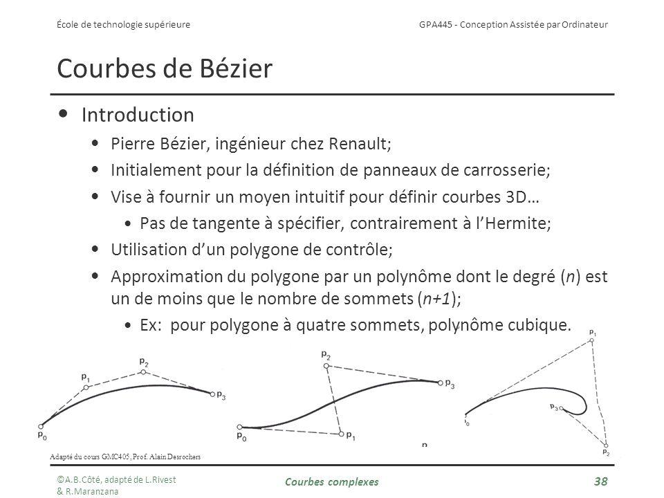 GPA445 - Conception Assistée par Ordinateur École de technologie supérieure Courbes complexes 38 Courbes de Bézier Introduction Pierre Bézier, ingénieur chez Renault; Initialement pour la définition de panneaux de carrosserie; Vise à fournir un moyen intuitif pour définir courbes 3D… Pas de tangente à spécifier, contrairement à lHermite; Utilisation dun polygone de contrôle; Approximation du polygone par un polynôme dont le degré (n) est un de moins que le nombre de sommets (n+1); Ex: pour polygone à quatre sommets, polynôme cubique.