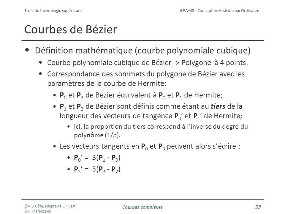 GPA445 - Conception Assistée par Ordinateur École de technologie supérieure Définition mathématique (courbe polynomiale cubique) Courbe polynomiale cubique de Bézier -> Polygone à 4 points.