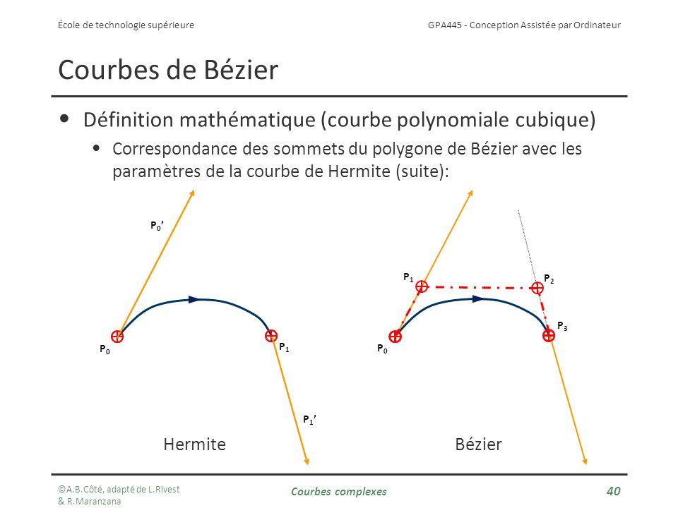 GPA445 - Conception Assistée par Ordinateur École de technologie supérieure Définition mathématique (courbe polynomiale cubique) Correspondance des sommets du polygone de Bézier avec les paramètres de la courbe de Hermite (suite): Courbes de Bézier P0P0 P1P1 P 1 P 0 P0P0 P1P1 P2P2 P3P3 HermiteBézier ©A.B.Côté, adapté de L.Rivest & R.Maranzana Courbes complexes 40