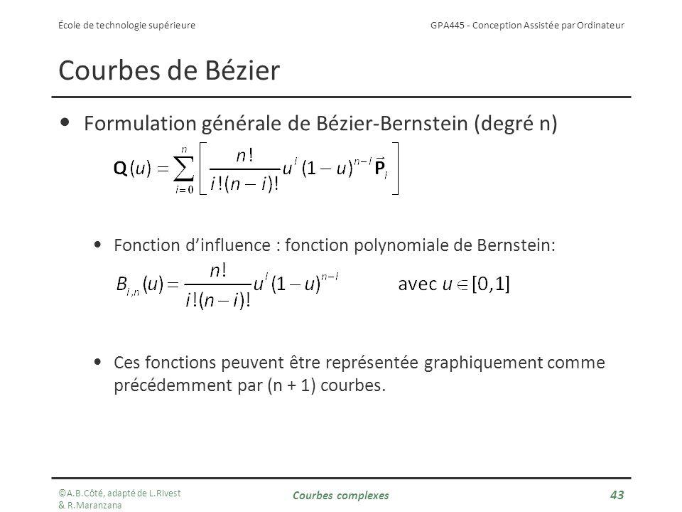 GPA445 - Conception Assistée par Ordinateur École de technologie supérieure Formulation générale de Bézier-Bernstein (degré n) Fonction dinfluence : fonction polynomiale de Bernstein: Ces fonctions peuvent être représentée graphiquement comme précédemment par (n + 1) courbes.