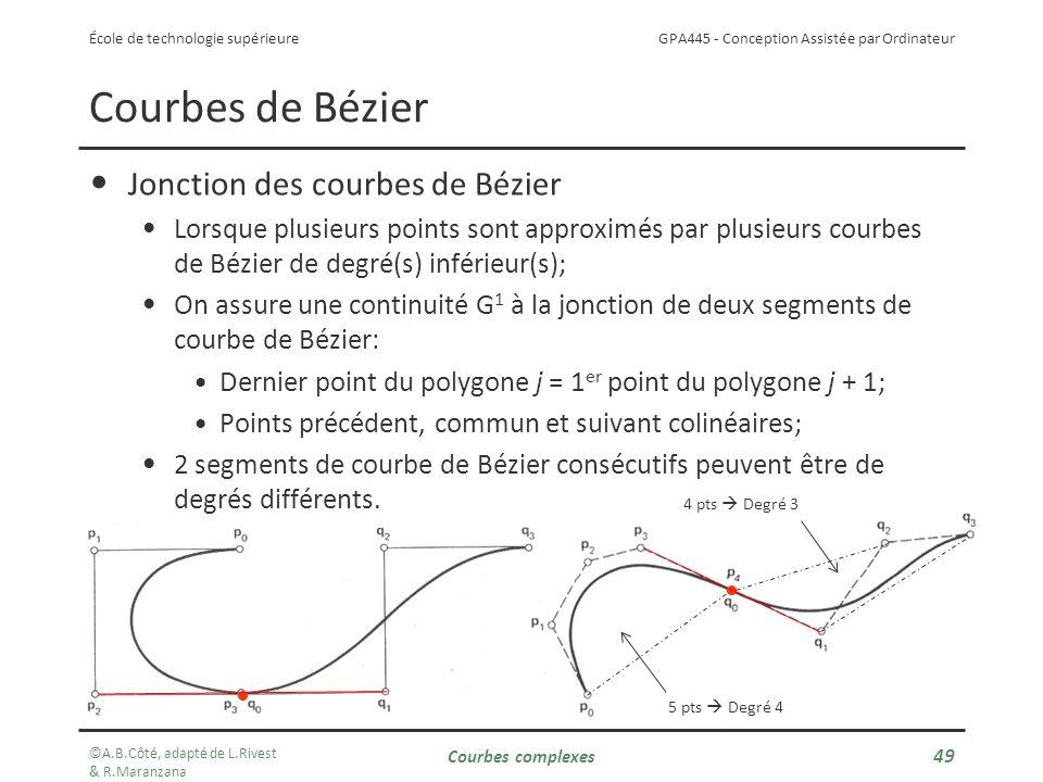 GPA445 - Conception Assistée par Ordinateur École de technologie supérieure Courbes de Bézier Jonction des courbes de Bézier Lorsque plusieurs points sont approximés par plusieurs courbes de Bézier de degré(s) inférieur(s); On assure une continuité G 1 à la jonction de deux segments de courbe de Bézier: Dernier point du polygone j = 1 er point du polygone j + 1; Points précédent, commun et suivant colinéaires; 2 segments de courbe de Bézier consécutifs peuvent être de degrés différents.
