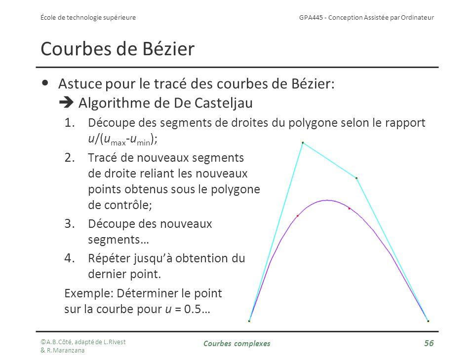 GPA445 - Conception Assistée par Ordinateur École de technologie supérieure Astuce pour le tracé des courbes de Bézier: Algorithme de De Casteljau 1.