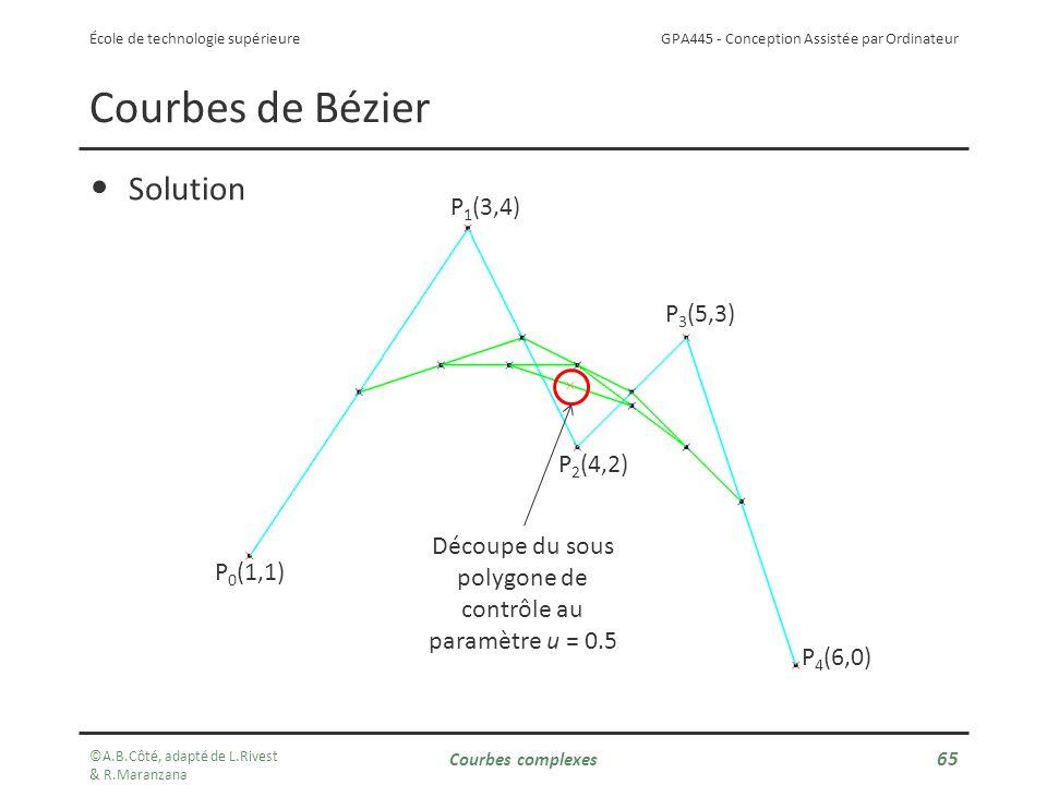 GPA445 - Conception Assistée par Ordinateur École de technologie supérieure Courbes de Bézier Solution P 0 (1,1) P 1 (3,4) P 2 (4,2) P 3 (5,3) P 4 (6,0) Découpe du sous polygone de contrôle au paramètre u = 0.5 ©A.B.Côté, adapté de L.Rivest & R.Maranzana Courbes complexes 65