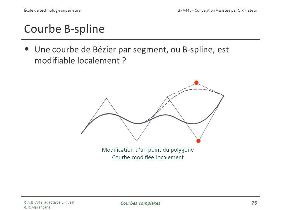 GPA445 - Conception Assistée par Ordinateur École de technologie supérieure Courbe B-spline Une courbe de Bézier par segment, ou B-spline, est modifiable localement .