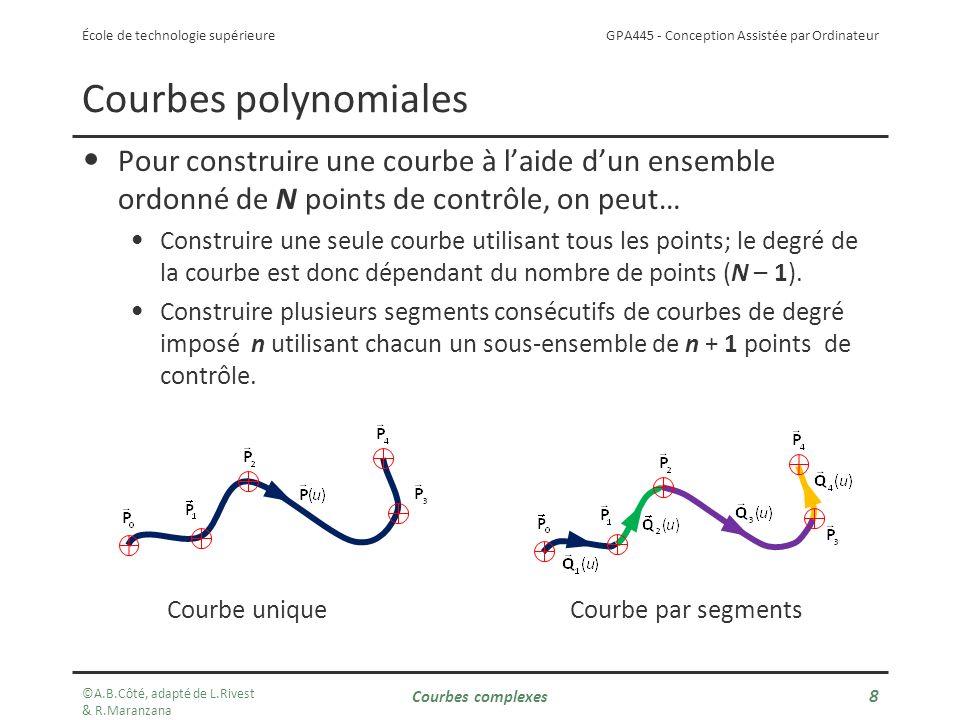 GPA445 - Conception Assistée par Ordinateur École de technologie supérieure Courbes polynomiales Pour construire une courbe à laide dun ensemble ordonné de N points de contrôle, on peut… Construire une seule courbe utilisant tous les points; le degré de la courbe est donc dépendant du nombre de points (N – 1).