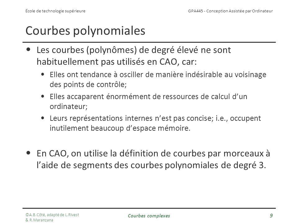 GPA445 - Conception Assistée par Ordinateur École de technologie supérieure Courbes polynomiales Les courbes (polynômes) de degré élevé ne sont habituellement pas utilisés en CAO, car: Elles ont tendance à osciller de manière indésirable au voisinage des points de contrôle; Elles accaparent énormément de ressources de calcul dun ordinateur; Leurs représentations internes nest pas concise; i.e., occupent inutilement beaucoup despace mémoire.