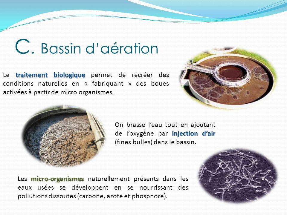 traitement biologique Le traitement biologique permet de recréer des conditions naturelles en « fabriquant » des boues activées à partir de micro orga