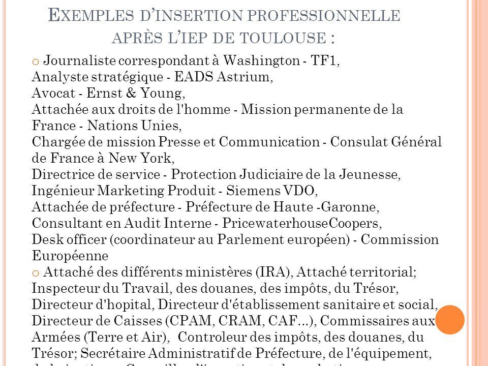 E XEMPLES D INSERTION PROFESSIONNELLE APRÈS L IEP DE TOULOUSE : o Journaliste correspondant à Washington - TF1, Analyste stratégique - EADS Astrium, A