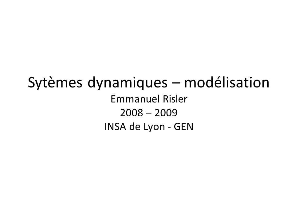 Sytèmes dynamiques – modélisation Emmanuel Risler 2008 – 2009 INSA de Lyon - GEN