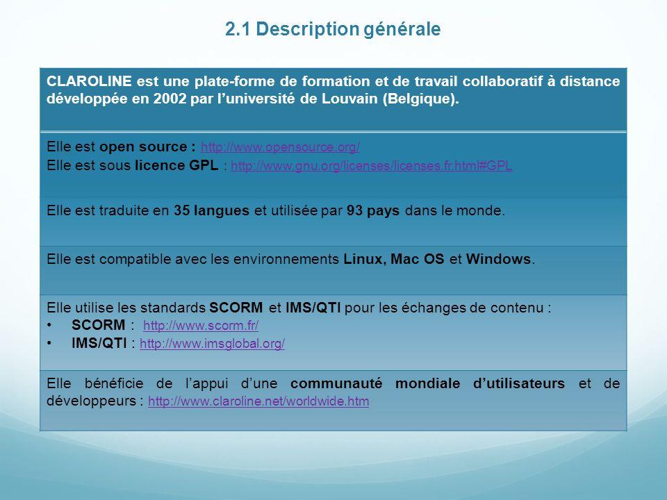 2.1 Description générale CLAROLINE est une plate-forme de formation et de travail collaboratif à distance développée en 2002 par luniversité de Louvain (Belgique).